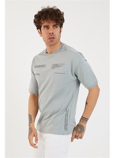 XHAN Buz Mavisi Baskılı Oversize T-Shirt 1Yxe1-44877-43 Mavi